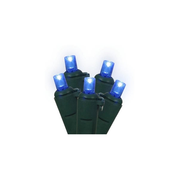 """Set of 100 Blue LED Wide Angle Christmas Lights 4"""" Spacing - Green Wire"""