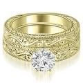 1.00 cttw. 14K Yellow Gold Antique Round Cut Diamond Bridal Set - Thumbnail 0