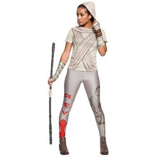Classic Star Wars Rey Rhinestone T-Shirt Costume Adult - White (Option: S)