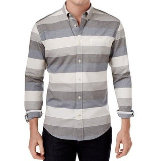 Tommy Hilfiger NEW Gray Mens Size Small S Striped Button Down Shirt
