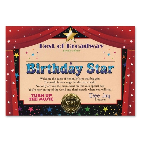 Pack of 6 ''Birthday Star'' Certificates 5'' x 7'' - N/A