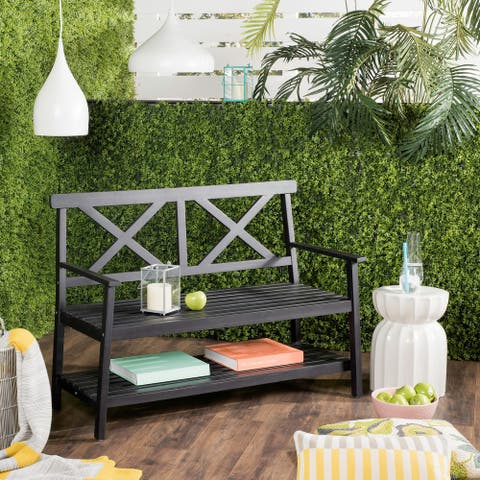 "Safavieh Mayer Black 49.21-Inch W Outdoor Bench - 49.2"" x 22.4"" x 34.7"""