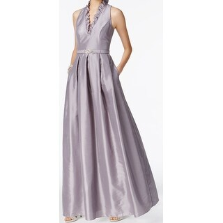 Jessica Howard Ash Gray Womens Size 14 Pleated Ruffle Gown Dress