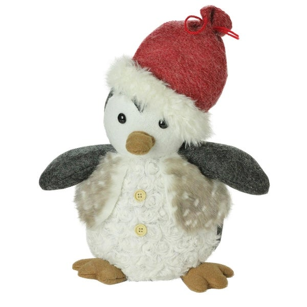 """12"""" Plush Christmas Sitting Penguin in Faux Fur Vest and Red Beanie Santa Hat - WHITE"""