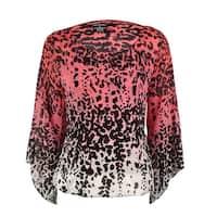 Alfani Women's Animal Printed Chiffon Bubble Top - jungle ombre coral
