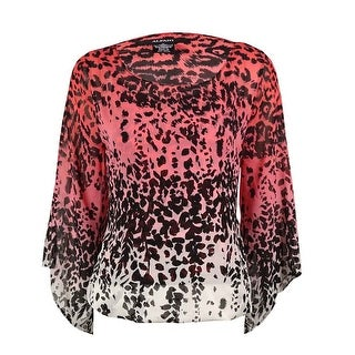 Alfani Women's Animal Printed Chiffon Bubble Top - jungle ombre coral
