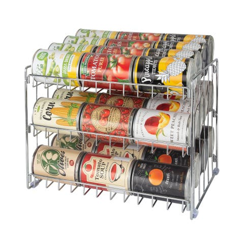 "Kitchen Details 3 Tier Can Storage Organizer Rack - 14.5""x 11.4""x 11"""