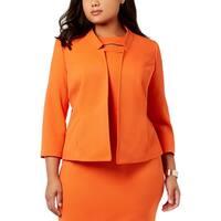 Kasper Womens Plus Open-Front Blazer Flyaway Wear To Work