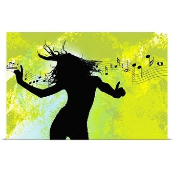 Poster Print entitled Woman dancing to music