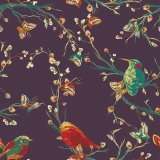 Mauve Vintage Floral with Birds Removable Wallpaper - 10'ft H x 24''inch W
