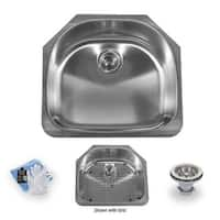 "Miseno MSS2421C 23-1/4"" Undermount Single Basin Stainless Steel Kitchen Sink - Drain Assembly, Basin Rack and Maintenance Kit"