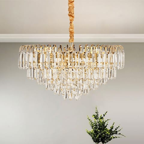 Gold Orchid Crystal 6 Teired 12-Lights Chandelier Ceiling Lighting