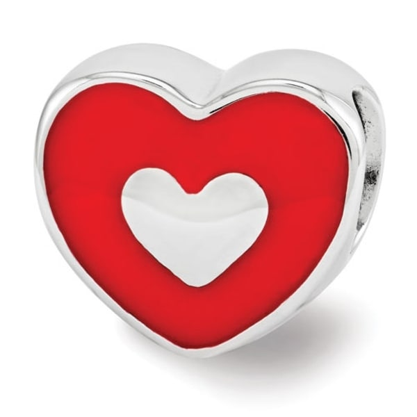 Sterling Silver Reflections Red Enamel LOVE & Heart Bead (4mm Diameter Hole)
