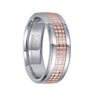White Cobalt Men S Wedding Ring Checkered Grooved 14k Rose Gold Polished Inlay By Crown Ring 7 5mm