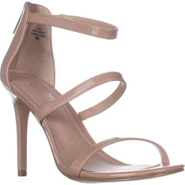 Charles Charles David Ria Strappy Heeled Sandals, Nude Patent