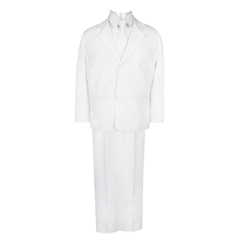 Boys Black Slim Fit Communion Suit with Silver Cross Dress Tie