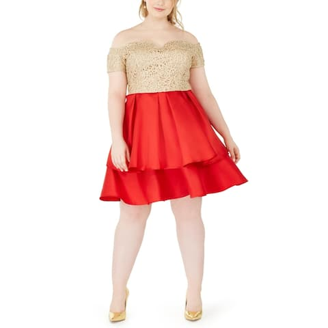 B. Darlin Womens Plus Cocktail Dress Lace Off-The-Shoulder - Red/Gold/Nude