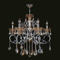 "Worldwide Lighting W83109C26-AM Kronos 6 Light 1 Tier 26"" Chrome Chandelier with Gold Crystals"