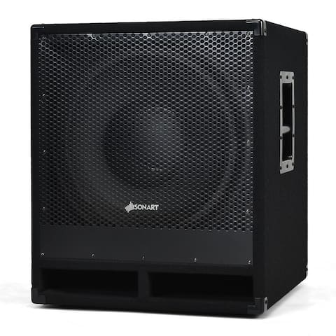 Costway 2000 Watts 15'' Active Powered Subwoofer 2-way Sound