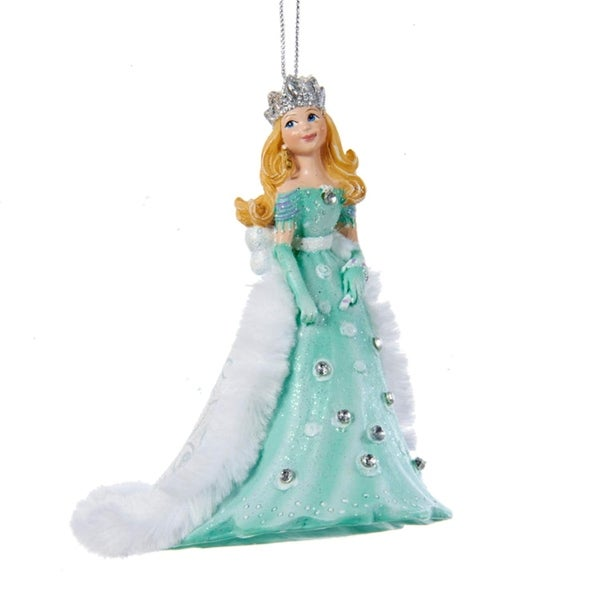 """4"""" Ice Palace Princess in Teal Dress with Floor Length Faux Fur Tirm Cape Decorative Christmas Ornament - green"""