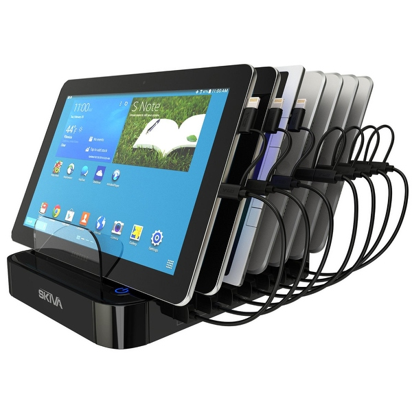 Skiva StandCharger (7-Port / 84W / 16.8A) Desktop USB Fast Charging Station Dock with '7 units of Short (0.5ft) 2-in-1 Cables'