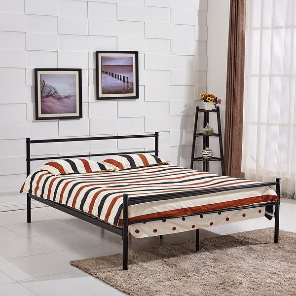 vecelo queen size platform bed frame metal mattress foundation with stable headboard and 8 - Queen Size Platform Bed Frame
