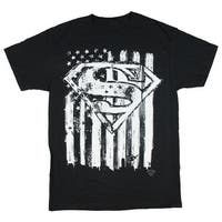 Superman Emblem & Flag Men's Black Shirt
