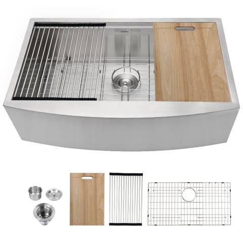 Lordear 33 Inch Farmhouse Kitchen Sink Workstation Single Bowl Sink Stainless Steel
