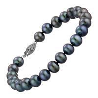 Honora 8-9 mm Black Freshwater Pearl Strand Bracelet in 14K White Gold