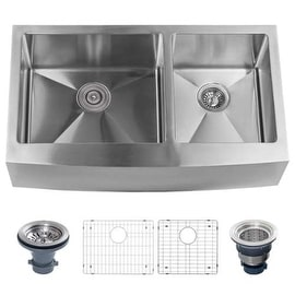 "Miseno MSS3320F6040 Farmhouse 33"" Double Basin Stainless Steel Kitchen Sink with"