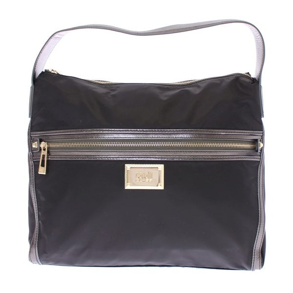 Cavalli Cavalli Black Gold Zipper Hobo Shoulder Bag - One size