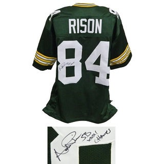 Andre Rison Full Name Signature Green Custom Football Jersey wSB XXXI Champs