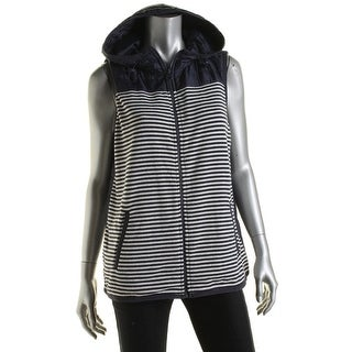 Tommy Hilfiger Womens Hooded Striped Packable Vest
