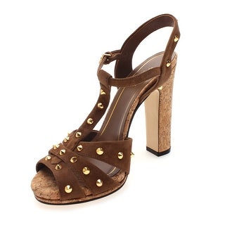 Gucci Women's Suede Open Toe Studded High Heel Sandals