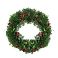 "29"" Mixed Pine with Red Berries and Pine Cones Artificial Christmas Wreath - Unlit - green"