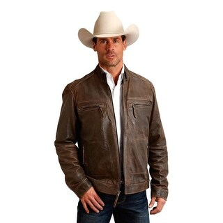 Stetson Western Jacket Mens Leather Zipper Brown