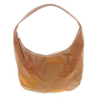 Nine West Womens Hobo Handbag Faux Leather Patchwork Large