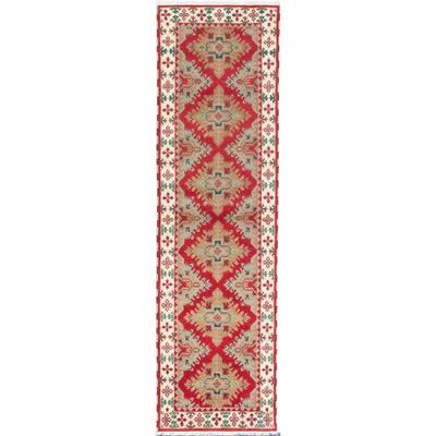 "ECARPETGALLERY Hand-knotted Royal Kazak Burgundy Wool Rug - 2'10"" x 9'10"" Runner"