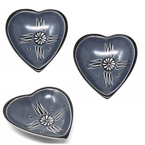 Handmade Small Soapstone Heart Trinket Dishes, Set of 3 (Kenya)