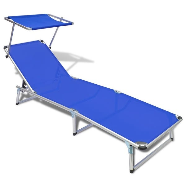 vidaXL Folding Sun Lounger with Roof Aluminium and Textilene Blue