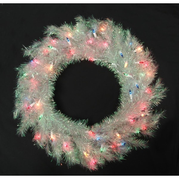 "24"" Pre-Lit Iridescent Shimmer Artificial Christmas Wreath - Multi Lights"