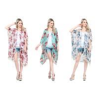 Riah Fashion Women's Tassel Floral Print Sheer Cardigan