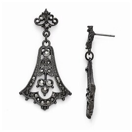Black IP Downton Abbey Post Earrings