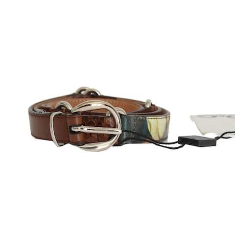 Dolce & Gabbana Brown Leather Pattern Women's Belt