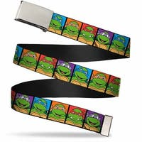 Blank Chrome Buckle Classic Teenage Mutant Ninja Turtles Face Blocks Web Belt