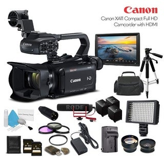 Canon XA11 Compact Full HD Camcorder 2218C002 With 2-64GB Cards, 2 Extra Batteries and Charger, Tripod, - Professional Bundle
