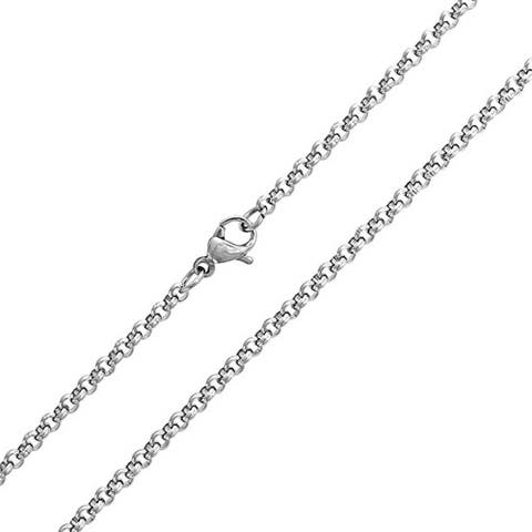 Thin Basic Rolo Cable Link Chain 3mm For Men For Women Silver Tone Stainless Steel