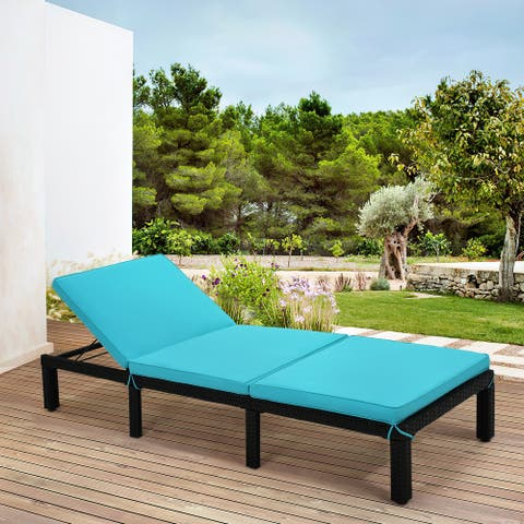Wicker Patio Lounge Chairs for Outside,Adjustable Chaise Loungers