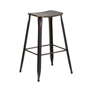Offex 30'' HighDistressed Copper Metal Indoor-Outdoor Barstool