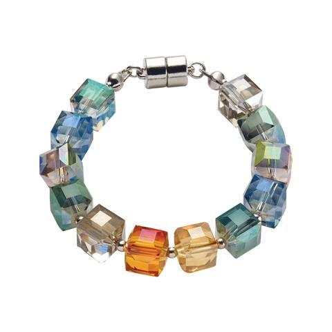 Origin Jewelry Women's Crystal Cubes Bracelet - Glass Beads, Magnetic Clasp